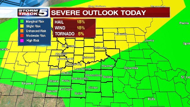 Originally, the afternoon storms were forecastas an enhanced risk of being severe but that changed in the late-morning on Wednesday. (KCTV5)