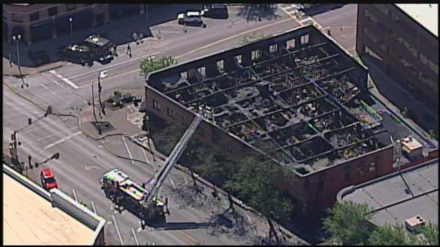 The investigation into what sparked a massive fire that destroyed a North Kansas City business block continuesWednesday. (Chopper5)