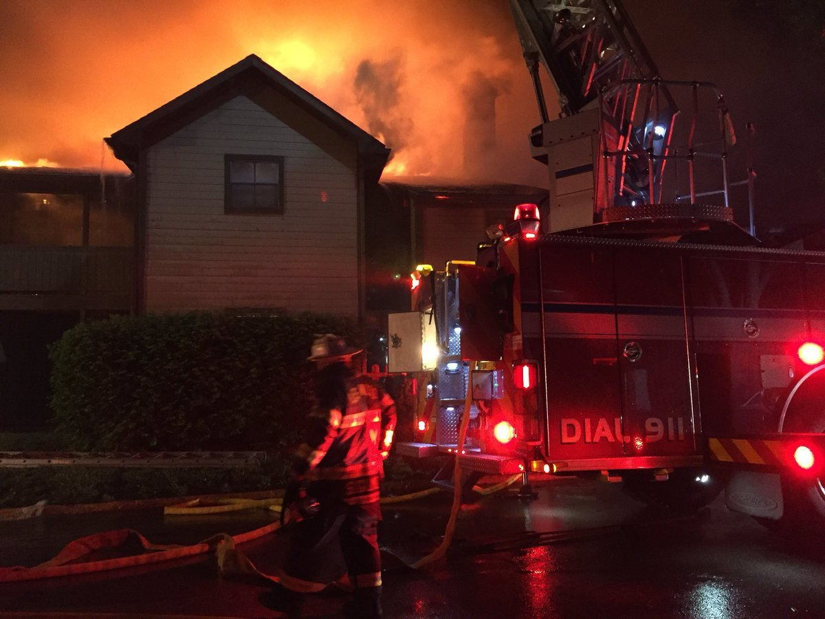 Firefighters with Overland Park and Leawood battleda two-alarm apartment fire early Monday morning.  It happenedabout 4:30 a.m. in the 8800 block of West 121st Terrace. (OPFD)