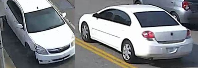 Officers are looking for white Saturn Aura passenger car with front-end damage and possibly a temporary tag. (KCPD)