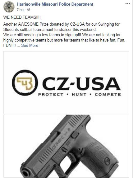 A softball tournament in Harrisonville is raising money for local kids - and one of the prizes is a 9 mm handgun.