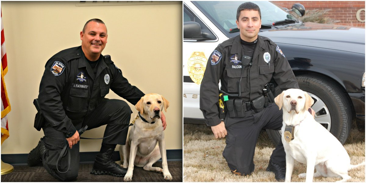 Nela and her handlers. (Olathe Police Department)