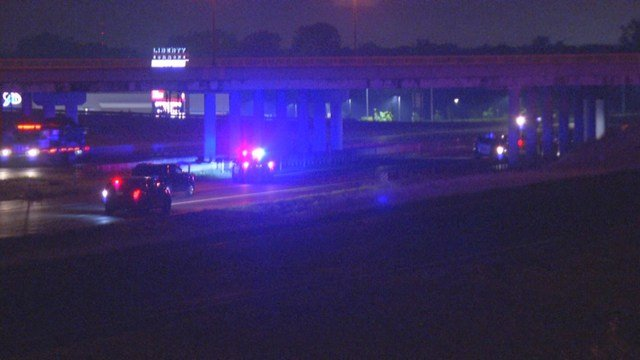 It happened at about 10:11 p.m. on the bridge over Interstate 35 at the intersection of Kansas Street. (KCTV5)