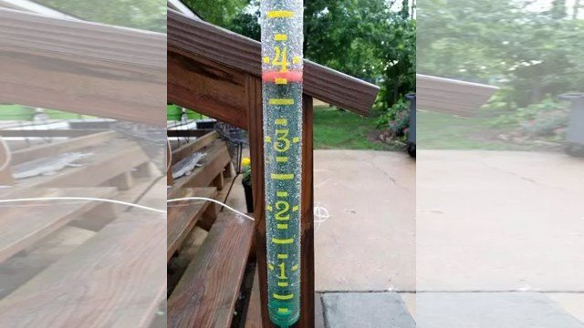 Harrisonville, MO, resident Linda Scott shared a photo of a rain gauge at her home holding nearly four inches of water. (Submitted/Linda Scott)