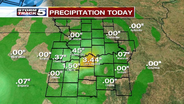 Live Power Doppler Radar estimates the rainfall rate Friday morning at times reached more than five inches per hour. (KCTV5)