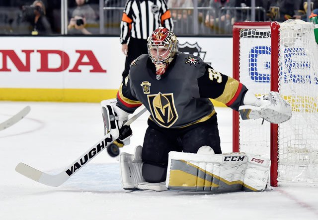 Vegas Golden Knights goalie Maxime Lagace defends against the Los Angeles Kings during the first period of an NHL hockey game Tuesday, Feb. 27, 2018, in Las Vegas. (AP Photo/David Becker)