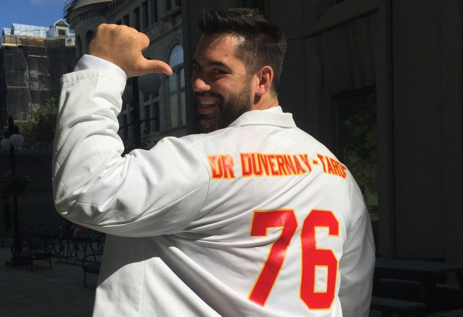Chiefs offensive lineman Laurent Duvernay-Tardif can finally put away the medical books for a while and spend all his free time studying up his playbook. (Laurent D. Tardif/Twitter)