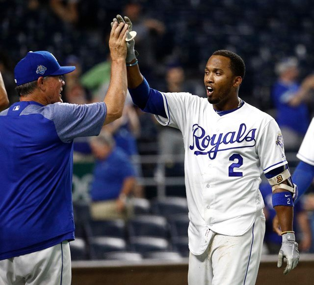 Escobar sent a drive to left field with two outs in the 14th inning Tuesday night to give the Royals a 2-1 victory over the Minnesota Twins. (AP)