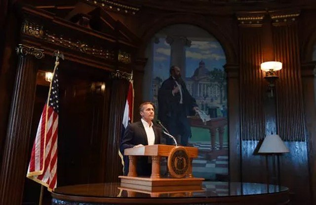 (Julie Smith/The Jefferson City News-Tribune via AP). Missouri Gov. Eric Greitens reads from a prepared statement as he announces his resignation during a news conference, Tuesday, May 29, 2018, at the state Capitol, in Jefferson City, Mo.