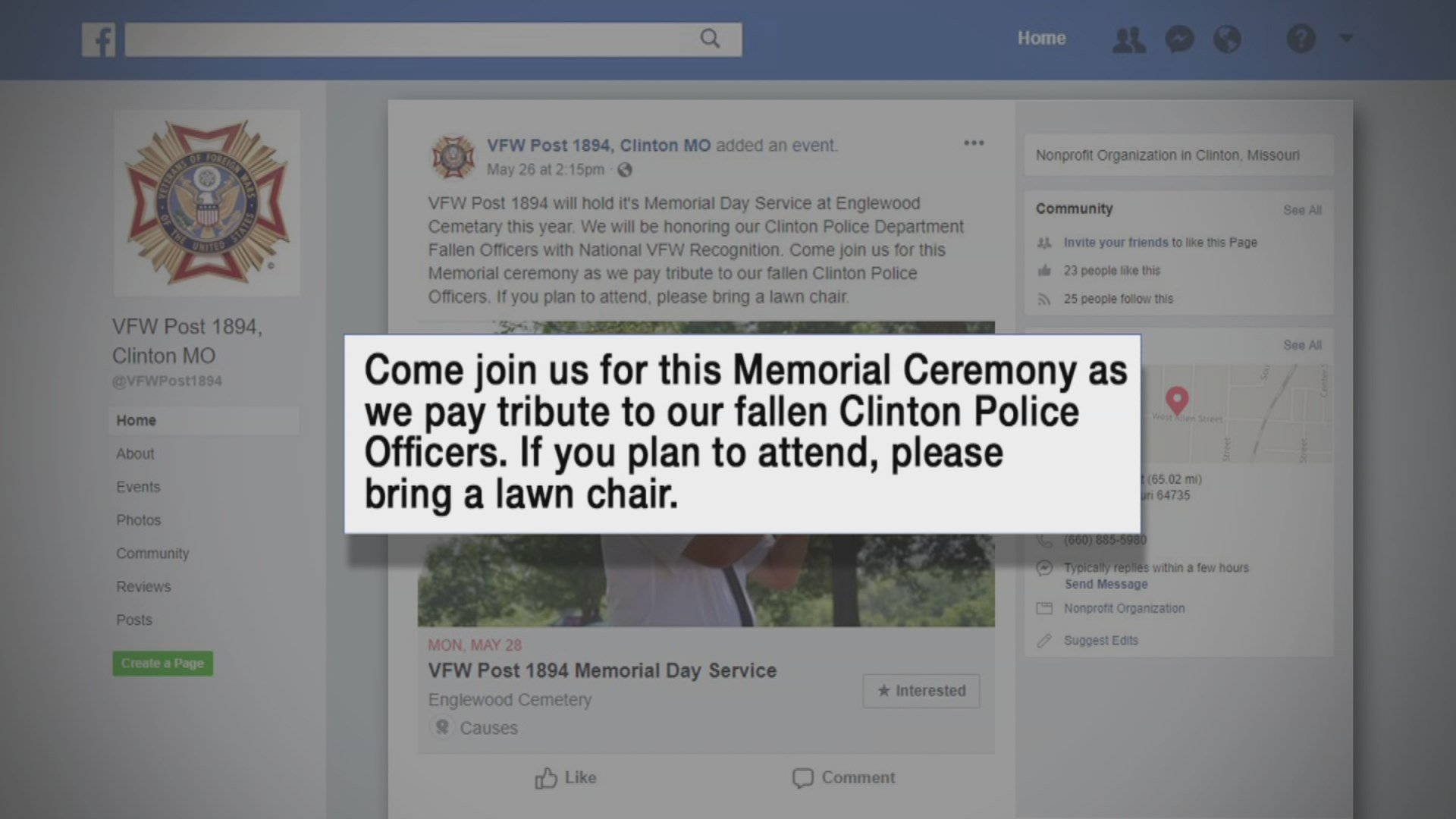 An advertisement for an event to honor two fallen Clinton police officers was pulled from Facebook not oncebut twice. (KCTV5)