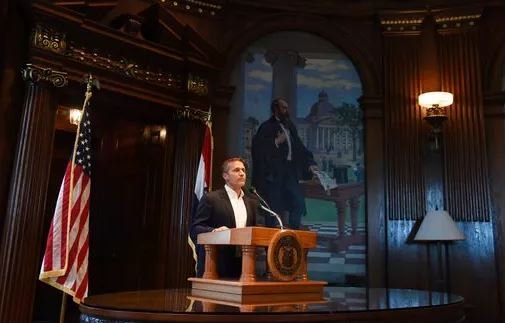 (Julie Smith/The Jefferson City News-Tribune via AP). Missouri Gov. Eric Greitens reads from a prepared statement as he announces his resignation during a news conference, Tuesday, May 29, 2018, at the state Capitol, in Jefferson City, Mo. Greitens res...