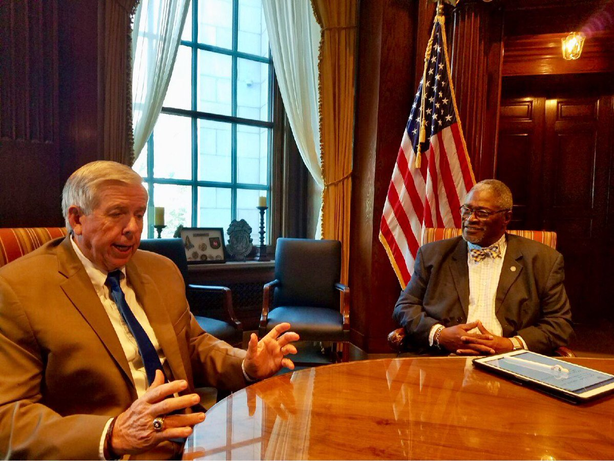 Missouri Gov. Mike Parson was talking with some of the state's mayors, including Kansas City Mayor Sly James, in separate meetings on Tuesday. (Sly James/Twitter)