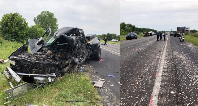 Investigators said the Brink's truck was stopped in eastbound traffic on Hwy. 152 when it was rear-ended by a Chevy truck. (KCPD)