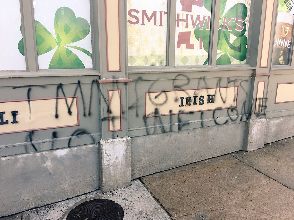 The owner of Browne's Irish Marketplace at 3300 Pennsylvania said it was a customer who came into the shop and alerted him to the graffiti Monday morning. (Rudy Harper/KCTV5 News)