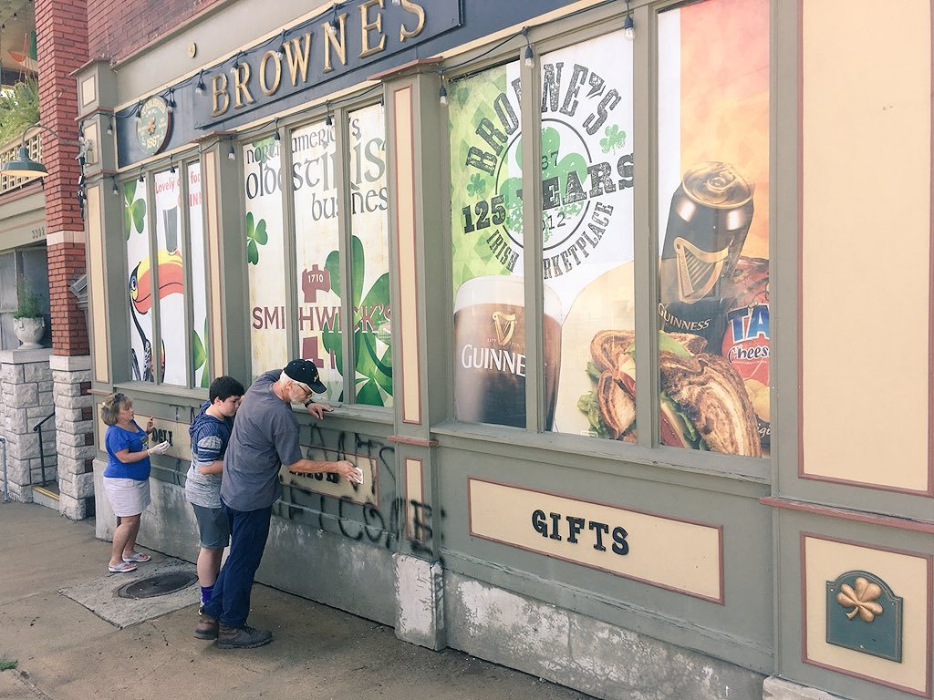 Owner John McClain said store staff were trying to clean up the graffiti, adding that his family was shocked by the act. (Rudy Harper/KCTV5 News)