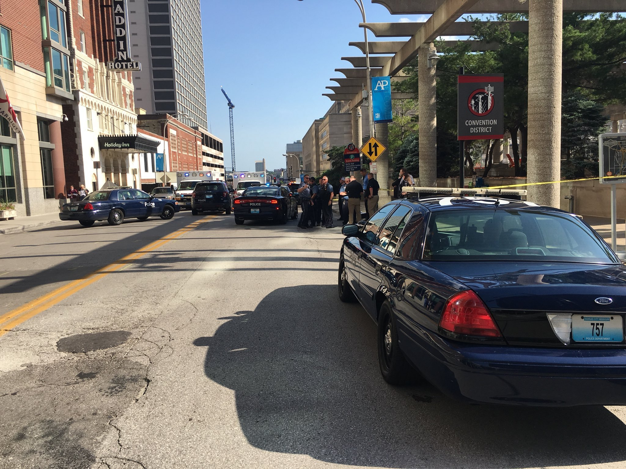 Two people are dead following an officer-involved shooting in downtown Kansas City. (Kelli Taylor/KCTV5)