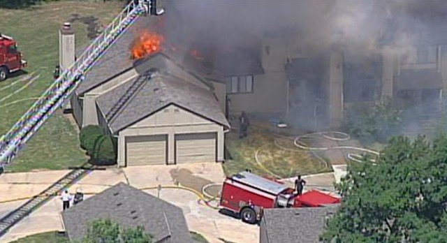 The fire started before 11:45 a.m. at a home in the 1100 block of NW 70th Court. (KCTV5)