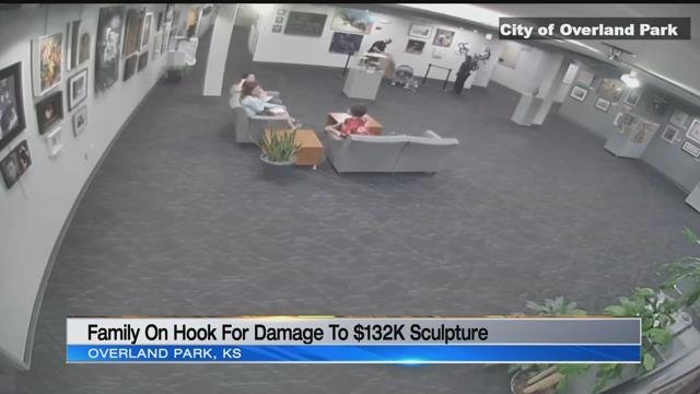 VIDEO: 5-year-old knocks over $132K sculpture, Overland Park wants parents to pay