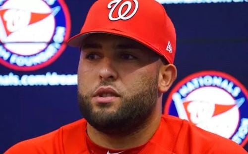 (AP Photo/Carolyn Kaster). Newly acquired pitcher Kelvin Herrera, speaks to the media before a game against the Baltimore Orioles, Tuesday, June 19, 2018, in Washington.