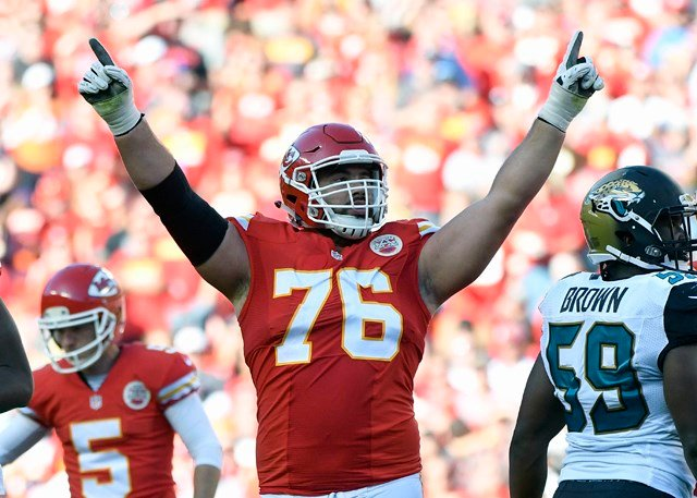 "As the only active player who also happens to hold a real medical degree, Duvernay-Tardif made a request to the league and asked if he would be allowed to put ""M.D."" on the back of his uniform. (AP)"