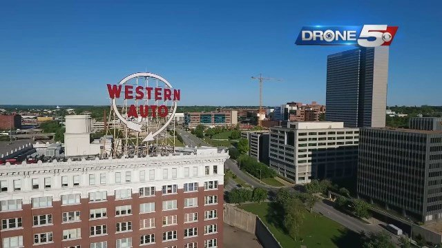 The iconic Western Auto sign will light up the Kansas City skyline again starting on July 13. (Drone5)