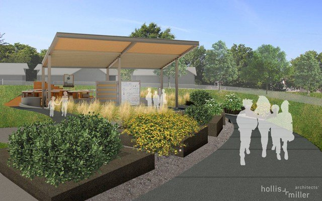 Architects designed the building with a theme of sustainability and it will feature plant beds, solar panels and the ability for students to learn about water conservation. (Facebook/Hollis+Miller Architects)