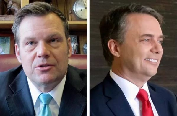 Kansas Gov. Jeff Colyer (right) and Kansas Secretary of State Kris Kobach (left) exchanged the lead several times throughout the night. (KCTV5 File Photo)