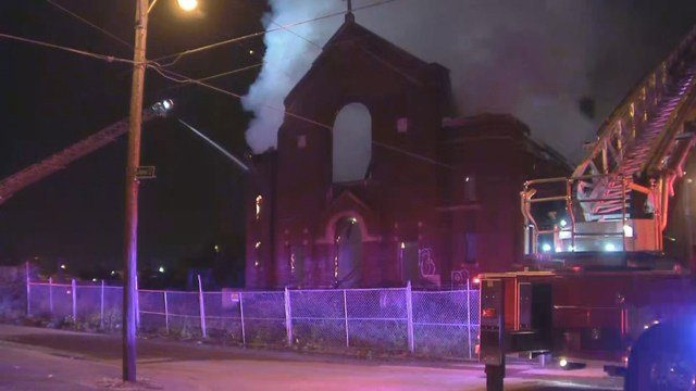 The flames started at about 4:24 a.m. at the St. Francis Seraph Catholic Church, located at Nicholson Avenue and N Agnes Avenue. (KCTV5)