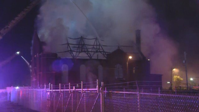 When crews arrived, they saw flames from the churches floor to its roof. (KCTV5)