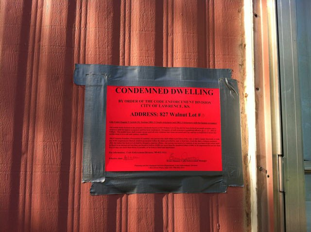 Code enforcement condemned 12 mobile homes in a Lawrence trailer park. 6 of them were vacant.  Photo Courtesy: KCTV5's Dave Jordan