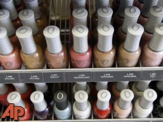 Nail care products are displayed at a beauty supply shop in San Francisco, Monday, April 9, 2012. (AP Photo/Marcio Jose Sanchez)