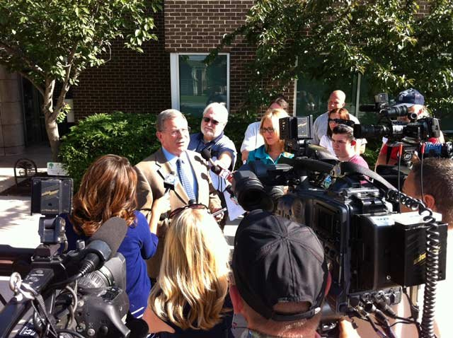 Press Conference on controversial statue. Photo Courtesy: KCTV5 Photographer Brett Hacker