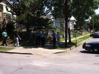 26th and Jarboe shooting scene. Photo Courtesy: KCTV5's Heather Staggers