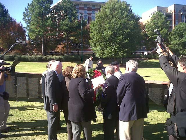 The traditional Wreath Laying Ceremony at the Wall That Heals in Atlanta, GA in 2011 (Photo Courtesy: www.vvmf.org)