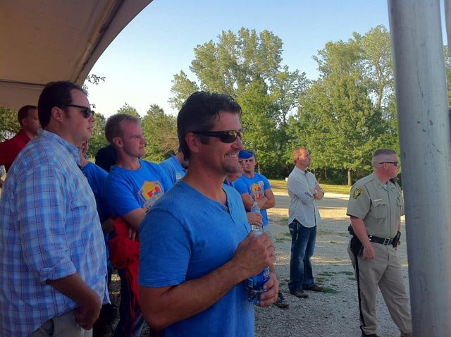 Todd Palin watching his wife speak. Courtesy: KCTV5's Dave Jordan