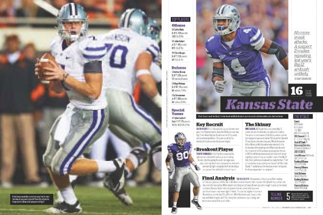 Kansas State has been ranked No.16 in Sports Illustrated's college football preview issue which hits newsstands Wednesday.  (Image courtesy Sports Illustrated)