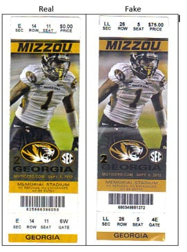 MU Police officers are warning Tiger fans to be wary of purchasing tickets for Mizzou football games from a third-party vendor. The fake tickets (right) are very difficult to identify, even when compared to a legitimate ticket.