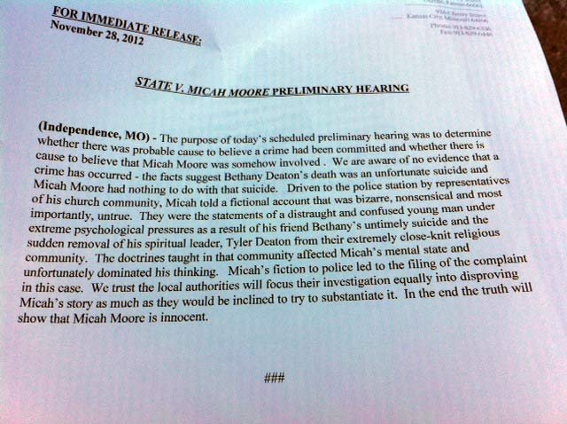 Statement from Micah Moore's attorneys