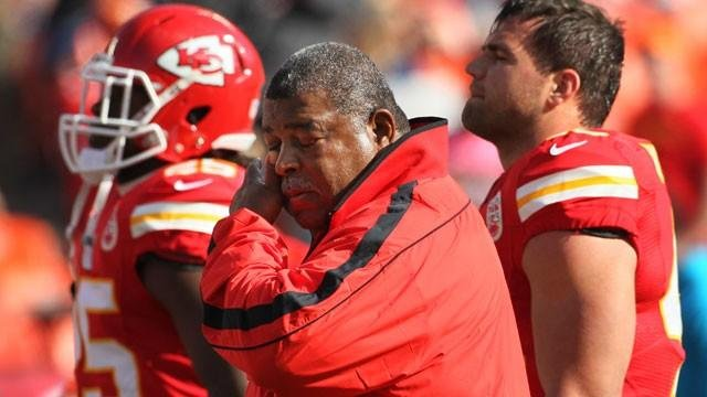 Kansas City Chiefs coach Romeo Crennel wipes his eyes before an NFL football game against the Carolina Panthers at Arrowhead Stadium in Kansas City, Mo., Sunday, Dec. 2, 2012. (AP Photo/Colin E. Braley)