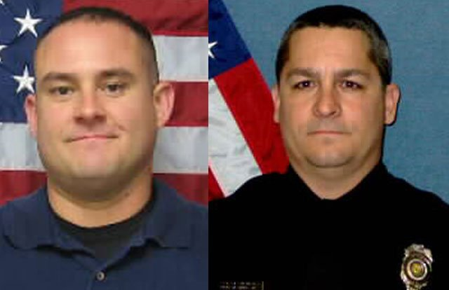 "Topeka Police Chief Ronald Miller called the Sunday evening shootings of Cpl. David Gogian and Officer Jeff Atherly ""unspeakable."""
