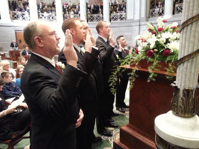 Newly elected State Senators take the oath of office Wednesday, during opening ceremonies in the Senate chamber at the Missouri State Capitol.  (Dick Aldrich/Missouri News Horizon)