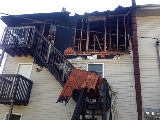 Firefighters responded to the report of an apartment fire about 11:15 a.m. in the 9200 block of East 54th Terrace on the third floor of a six-unit building.  (Raytown Fire Protection District)