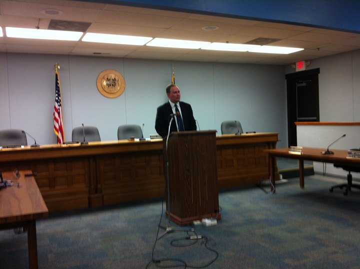 Franklin County Attorney Stephen Hunting at press conference