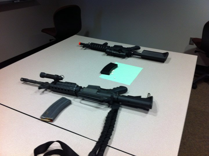 This photo at the Merriam Police Department shows how similar an airsoft gun looks to a real one.