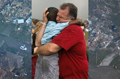 One of Hellstern's photographs captured a child leaping into a man's arms. The man cradles the child's head with one hand and hugs his waist with the other, his face flushed with emotion.