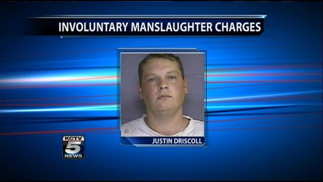 Justin Driscoll, 26, has been charged with involuntary manslaughter.