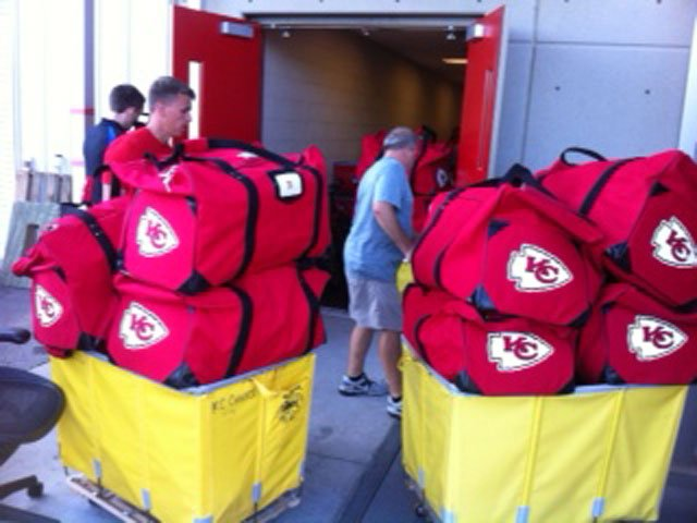 The Chiefs equipment truck pulled out of Arrowhead Stadium Tuesday, and everything but the players themselves got loaded up on a truck.  (Alan Shope/KCTV5)