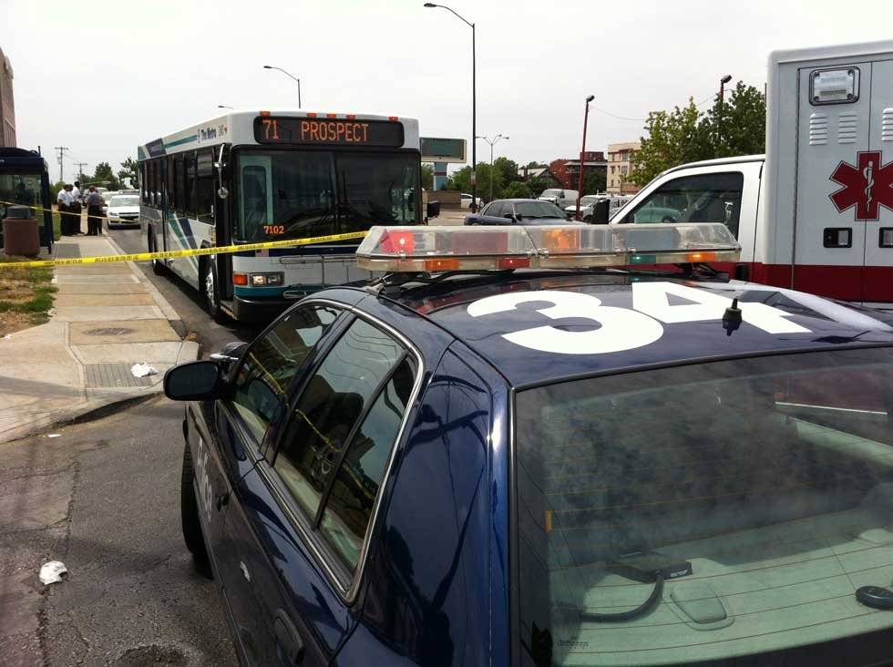 Crime tape blocks off ATA bus involved in a shooting Thursday