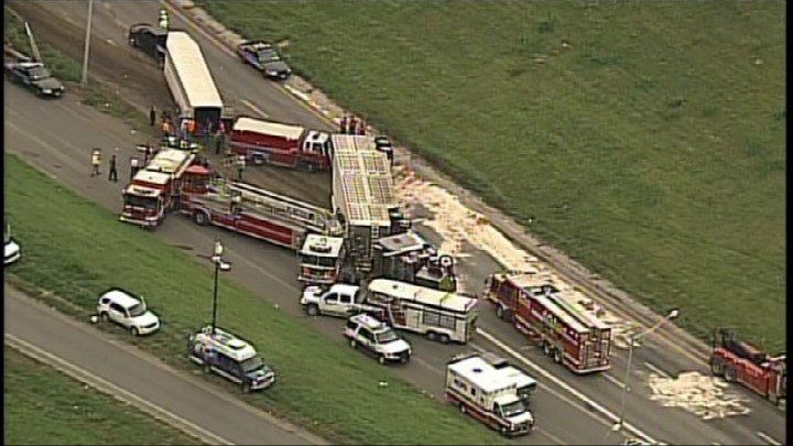 Fireball Truck Sales >> Westbound I-70 reopens after cattle truck overturns - KFVS12 News & Weather Cape Girardeau ...