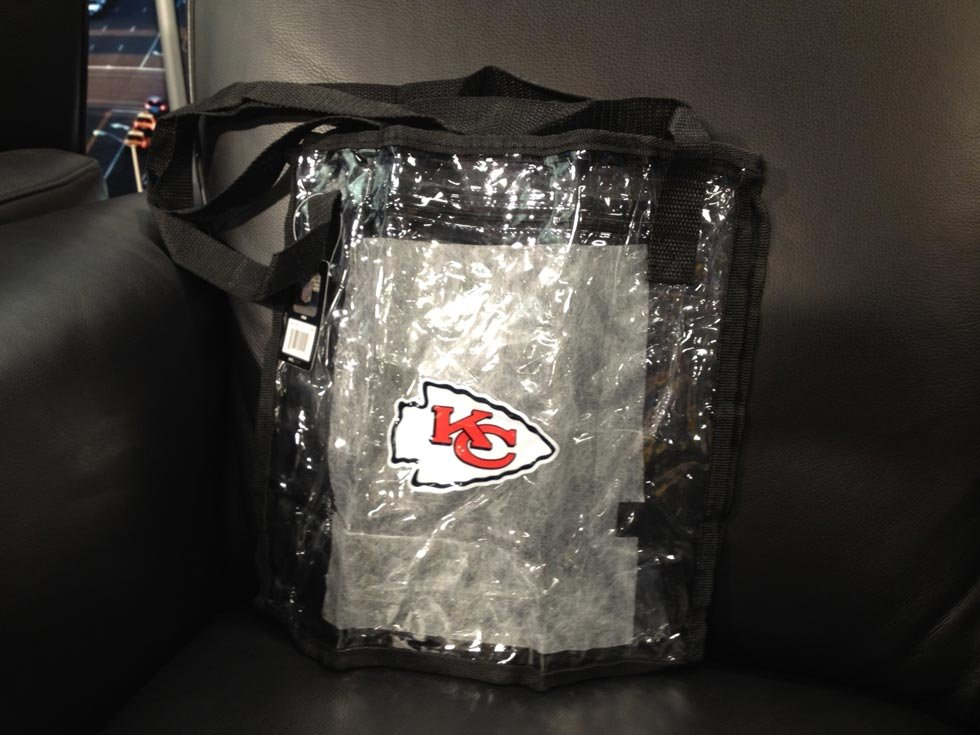 The official Chiefs branded tote bag can be purchased and used at games.